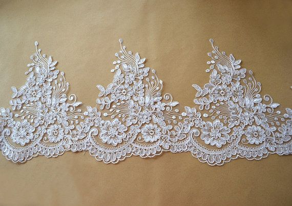 Width 8.07 inches ivory lace trimflowers embroidered by POPOLace 6.99$/yard