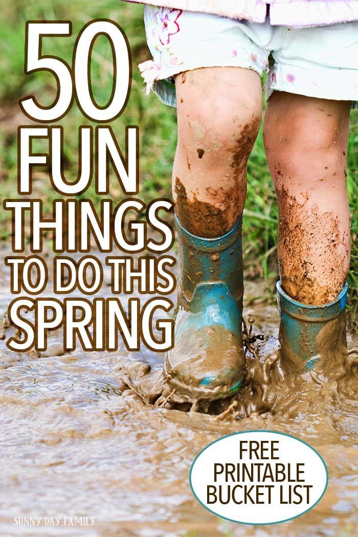 Get outside, play in the mud, and have fun with 50 classic ideas for spring activities for kids! Get a free printable spring bucket list and try a new fun family activity today!