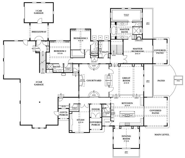 17 best images about courtyard house plans on pinterest for House plans with internal courtyard