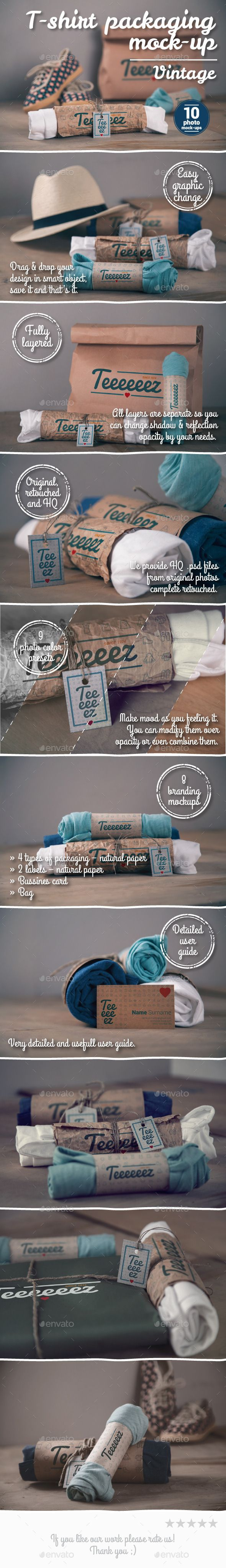 T-shirt package mock-up is set of 10 photographed and retouched images with added mockups for branding purposes.