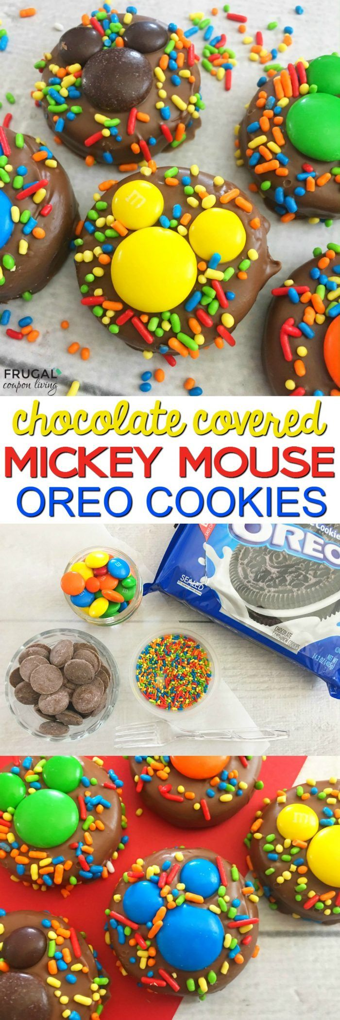 Mickey Mouse Food Idea. These  Chocolate Covered Mickey OREOs are fun for a Mickey Mouse Clubhouse Party we also think they would be a fun way to tell the kids they are going to Disney. Disney Recipe on Frugal Coupon Living.