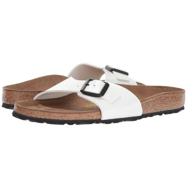 Birkenstock Madrid Slip-On (Bright White Patent Birko-Flor) Women's... ($80) ❤ liked on Polyvore featuring shoes, sandals, patent sandals, evening shoes, patent leather shoes, padded sandals and birkenstock shoes
