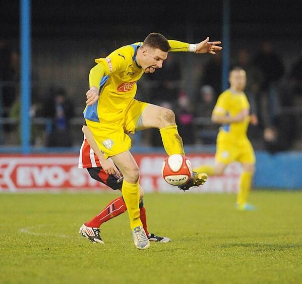 Dan Quigley practising for his strictly audition.  King's Lynn Town FC 16/11