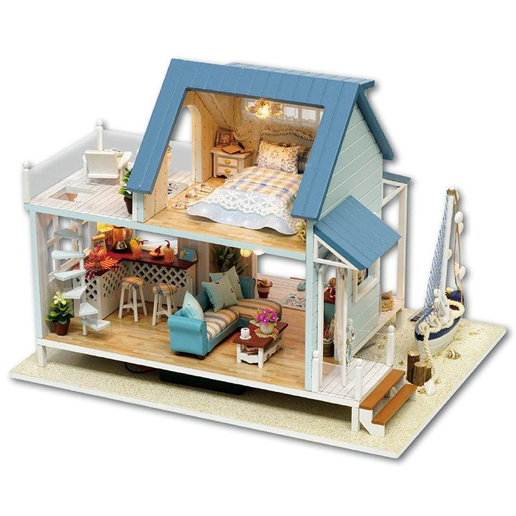 $59.90 Very Cute Caribbean DIY Dollhouse Miniature Kit With Light Music Motor