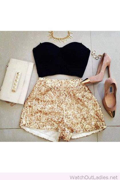 Black crop top, gold sequence shorts and blush pumps  I wanna wear done thing like this for New Years I can't wait!