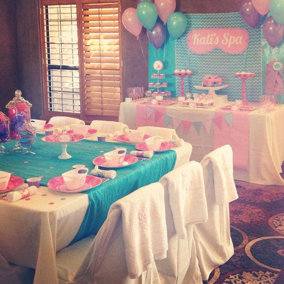 Spa Birthday Party - purple, pink, turq. colors