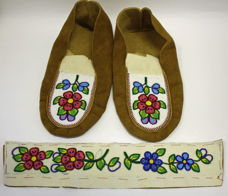 Before construction of the moose hide moccasins.