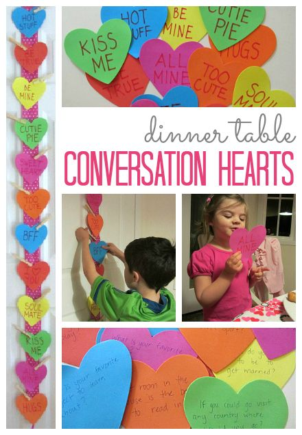 Great idea for family meals! Conversation hearts with conversation starters on the back. #ValentinesDay