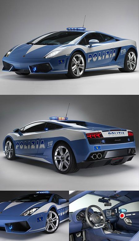 A Lamborghini Gallardo customized specifically for the Polizia di Stato, one of the national police forces of Italy.