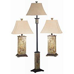Landon Slate Finish 3 Piece Lamp Set