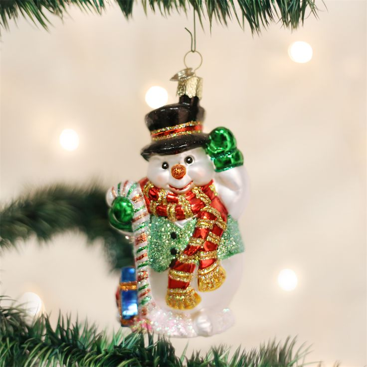 Candy Cane Snowman Old World Christmas OrnamentsSnowman