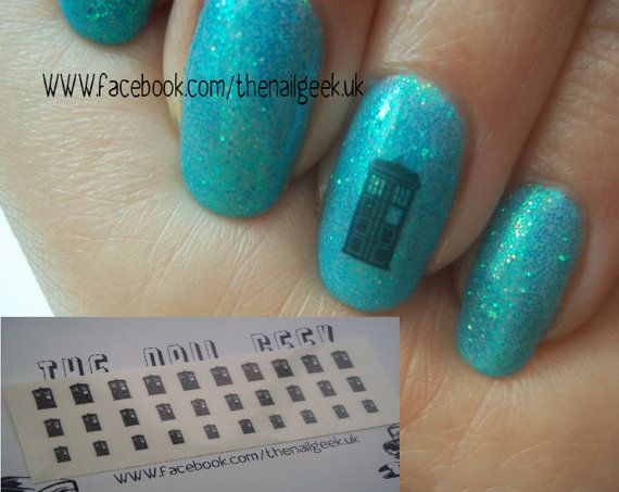 Police box nail tattoos