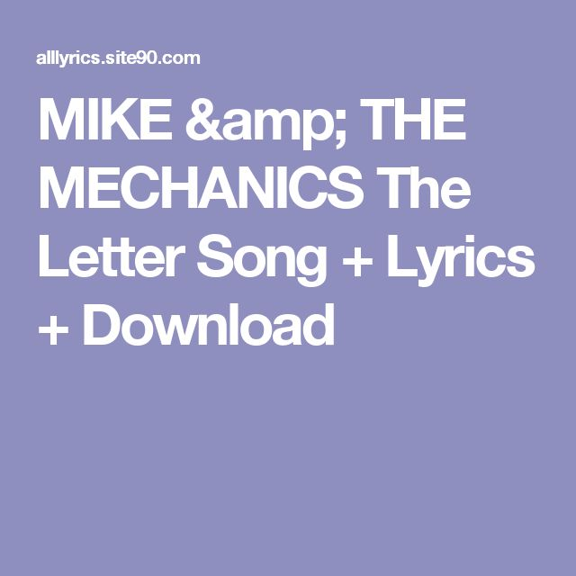 Click The Image   MIKE & THE MECHANICS The Letter Song + Lyrics + Download