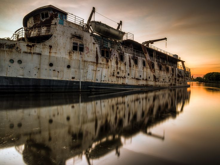 Ghost Cruise Ship in Alberta Lake  http://vaughnashby.com/AuroraWasteland/ghost-cruise-ship/   #AuroraWasteland #Alberta #AlbertaBeach #CruiseShip #GhostShip #LacStAnne #MSLadyPeace #2002