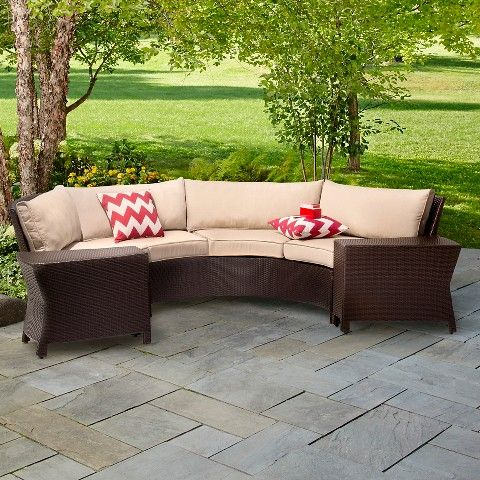 Harrison 6 Piece Wicker Sectional Patio Seating Set Threshold