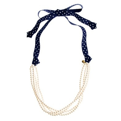 Attach a ribbon to a pearl necklace or any necklace with a broken clasp..  #tadaaahhhh!