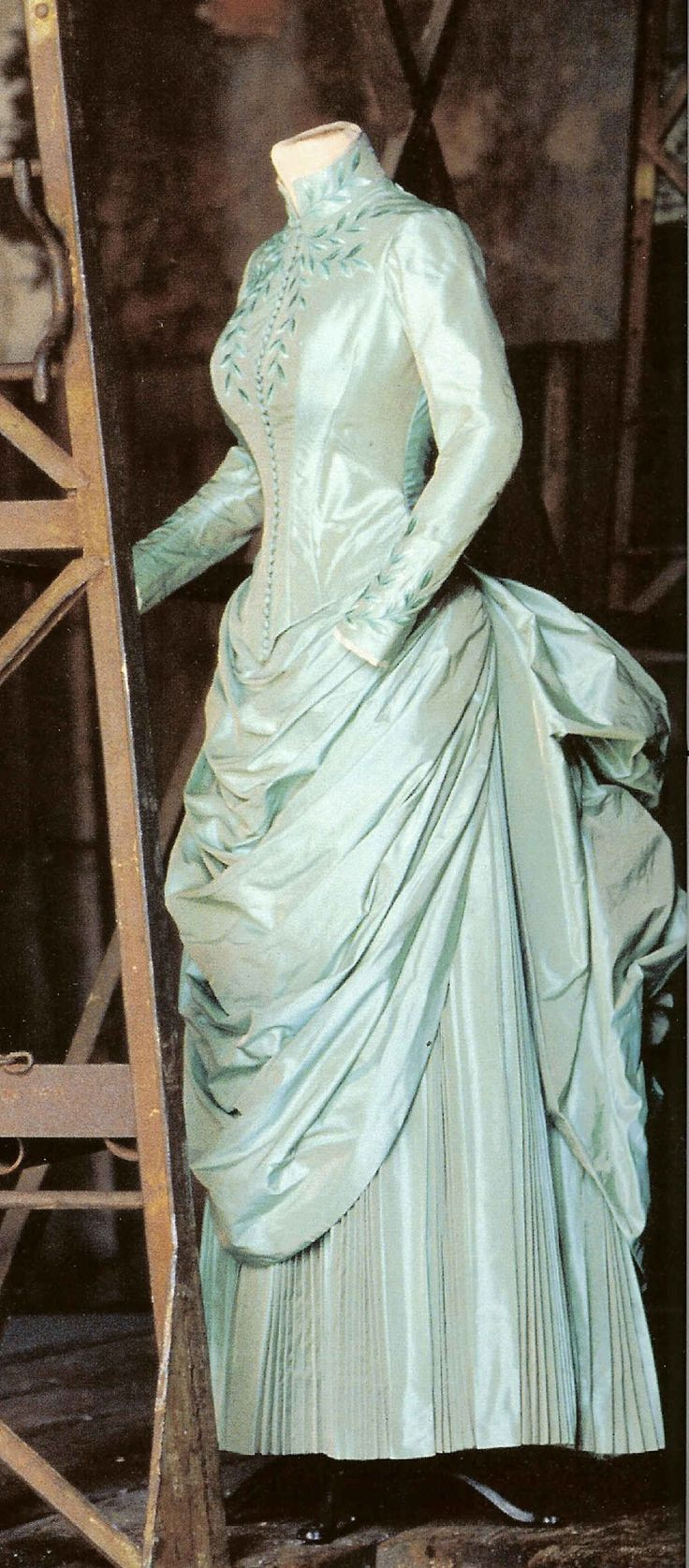 Mina's Blue/Green Gown from Dracula.  I love the costumes in this film, but the movie is supposed to take place in 1897, and the bustle-era costumes on Mina are from about 10-15 years EARLIER, while her best friend Lucy has styles more typical of the 1890s, with a weird modern edge.