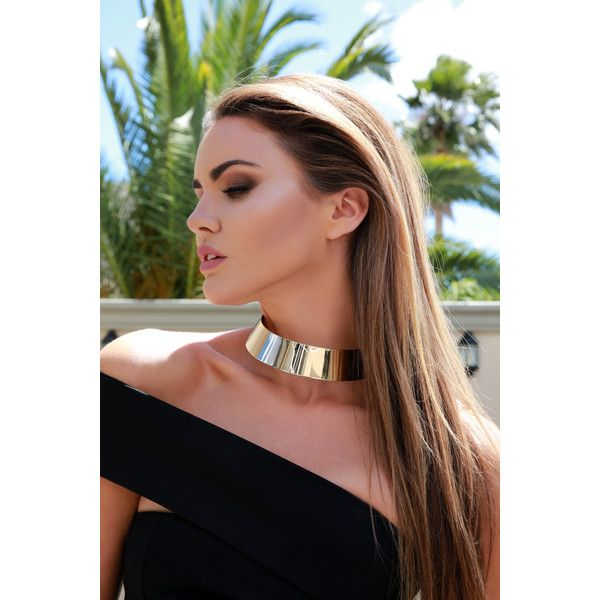 Ivory & Chain Australian Designer Gold Choker Cuff Metal Necklace ($48) ❤ liked on Polyvore featuring jewelry, necklaces, gold chain choker, gold necklace, ivory necklace, gold jewelry and chunky choker necklace