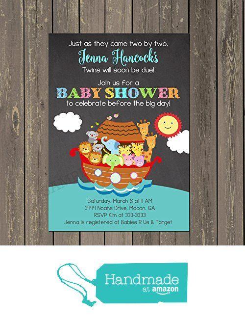 Noahs Ark Baby Shower Invitation, Noahs Ark Twin Baby Shower Invitations,  Chalkboard Look Shower