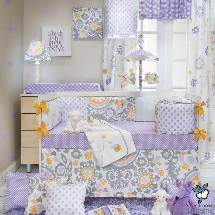 Baby Girl Purple Lavender Yellow Floral Grey Crib Nursery Quilt Bedding Bed Set | eBay