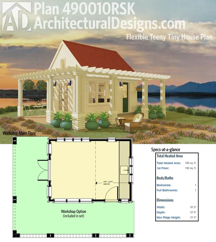 Architectural Designs Flexible Teeny Tiny House Plan 490010rsk Gives You Almost 200 Square Feet Of Living