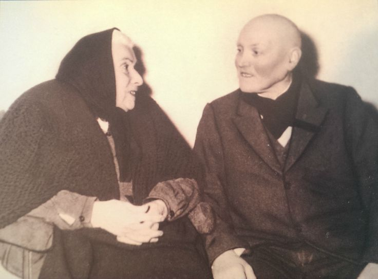 Assunta Goretti, mother of St. Maria Goretti, and Alessandro Serenelli, the man who murdered her daughter. After his release from prison he sought forgiveness and mercy from Maria's mother. She granted it and adopted Alessandro as her own son. Now one of the most famous stories of mercy in the Catholic Church.