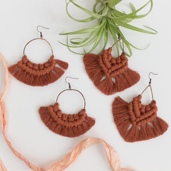 Bohemian Stud Earrings Macrame
