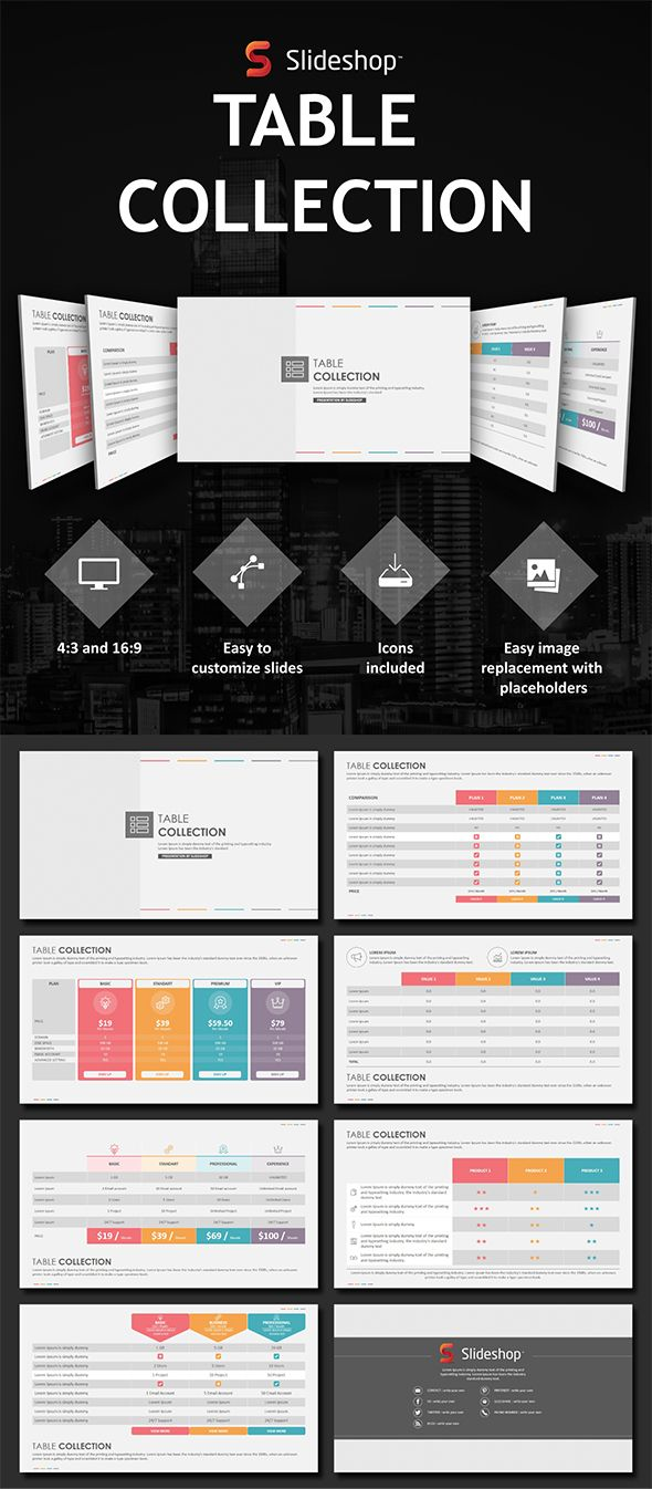 Table Collection - PowerPoint Templates Presentation Templates
