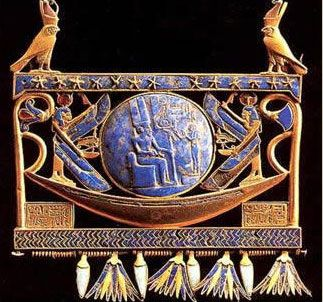 "Gold pectoral with solar boat of Pharaoh Sheshonq II of Egypt.  Even today, we know very little about Sheshonq (Shoshonq) II. His birth name and epithet were Sheshonq (meryamun), meaning Sheshonq, Beloved of Amun. Heqa-kheper-re Setep-en-re, meaning ""The Manifestation of Re rules, Chosen of Re"" was his Throne name. He was a member of the Libyan, or Bubastite Dynasty (22nd Dynasty)."