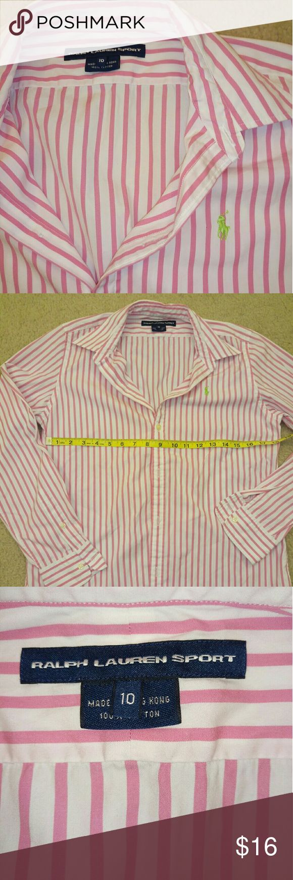 Ralph Lauren striped oxford shirt for women Great condition, great quality. Tops Button Down Shirts