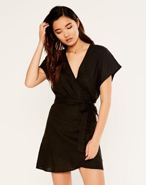 69c6aa2654 Linen Blend Wrap Dress   GLASSONS   $50   Real Life Fashion ...