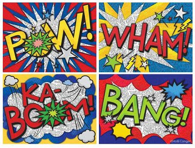 Good for upper elementary (and middle school too!) Onomatopoeia art. Use a 1960's batman video for the anticipatory set and Roy Lichtenstein as the artist focus. Love it!