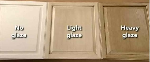 Rustoleum Cabinet Transformations  the difference between no glaze, light glaze and heavy glaze