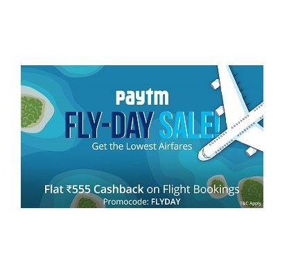 Paytm is offering Rs.555 Cashback on Flight TicketsBooking How to catch the offer: Click here for offer page Book Flight Tickets Apply offer codeFLYDAY Fill the shipping details Make final payment Valid Twice per User Cashback will be credited within 24 hours of the booking