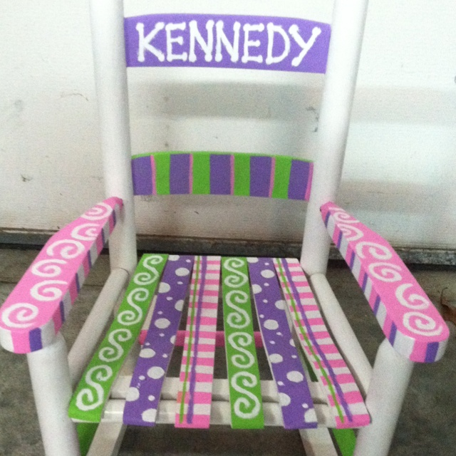 Hand-painted baby rocker. Great baby shower gift!
