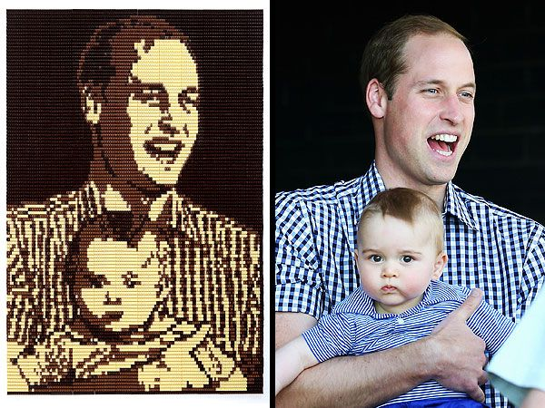 Artist Creates 12-Foot Chocolate Portrait of Prince William and Baby George......2014