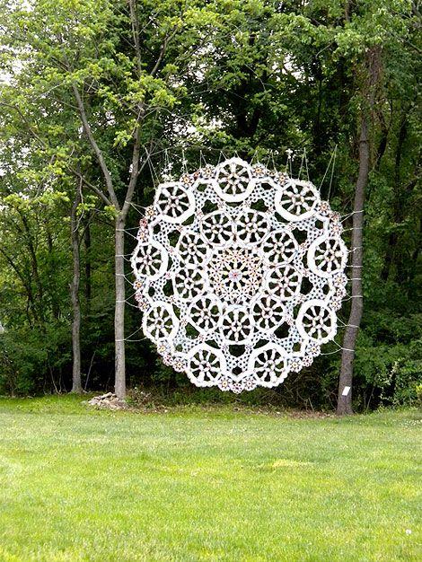 Giant Doilies by Jennifer Cecere.: Jennifer Cecere, Art, Gardens, Giants Doilies, Cool Ideas, Yarns Bombs, Crochet Doilies, Wood Frames, Photos Backdrops