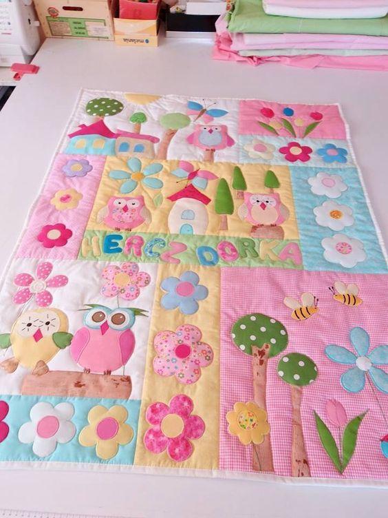 http://artesanatobrasil.net/patchwork-para-iniciantes/- colcha infantil em patchwork