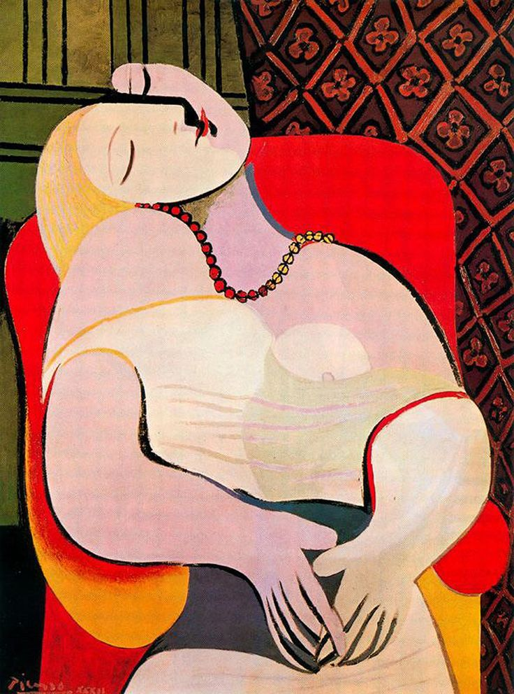 The Dream (Le Rêve) is a 1932 oil painting by Picasso, then 50 years old, portraying his 22 year old mistress Marie-Thérèse Walter; it belongs to Picasso's period of distorted depictions, with its oversimplified outlines and contrasted colours; the erotic content has been noted repeatedly, with critics pointing out that Picasso painted an erect penis, presumably symbolizing his own, in the upturned face of his model