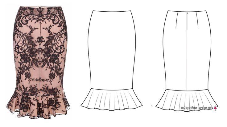 Выкройка юбки-карандаш с воланами за 1 рубль (р-р 40-60) | Шить просто — Выкройки-Легко.рф