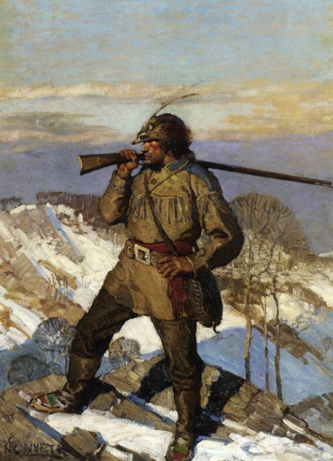 NC Wyeth - The Frontiersman, The Popular Magazine cover Illustration. c.1911