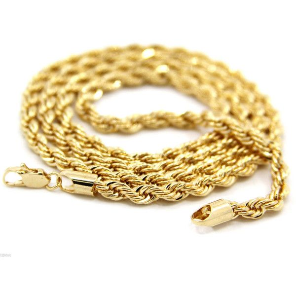 """14K Yellow Gold Plated 5mm Rope Chain Necklace 24"""" ($10) ❤ liked on Polyvore featuring jewelry, necklaces, rope chain necklace, 14k gold jewelry, yellow gold necklace, 14k rope chain necklace and gold necklaces"""