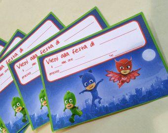 Biglietti di invito per festa 10 pz ispirati a Superpigiamini Pjmasks stampati su cartoncino 210 gr da riempire con i dati della tua festa