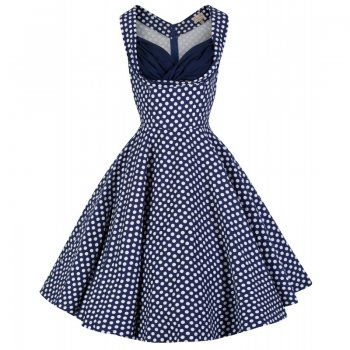 Lindy Bop 'OPHELIA' VINTAGE 1950's BLUE POLKA DOT PARTY PICNIC DRESS: