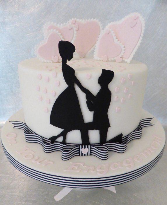 Silhouette Engagement Cake - by Deborah @ CakesDecor.com - cake decorating website - ribbon at base, sihouette
