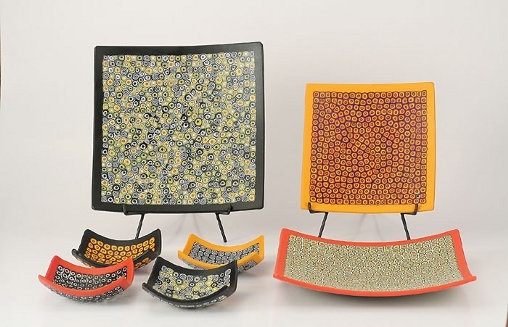 Murano glass square #plates made with circles pattern murrine with #modern taste http://www.ercolemoretti.it
