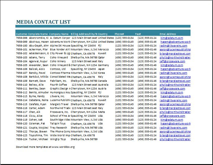 Media Contact List Template