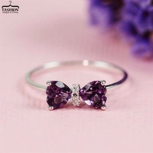 #Ring simple #Ring bow purple #cute ...PUSH and choose