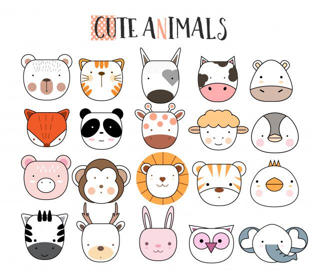 Conjunto De Icones De Animais Dos Desenhos Animados Animal Icon Animal Doodles Cute Drawings