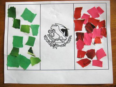 Max and Ellie: Mexican flag using torn paper-good for fine motor to promote writing skills and Mexico theme